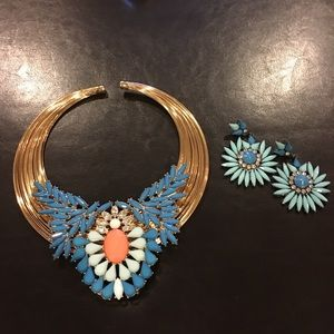 Stunning Statement Necklace & Pierced Earrings NEW